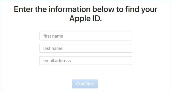 enter info to find apple id