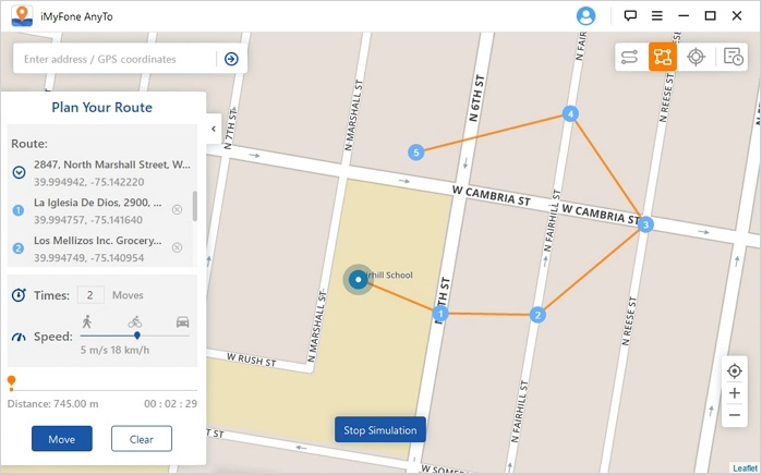 plan virtual route to move along