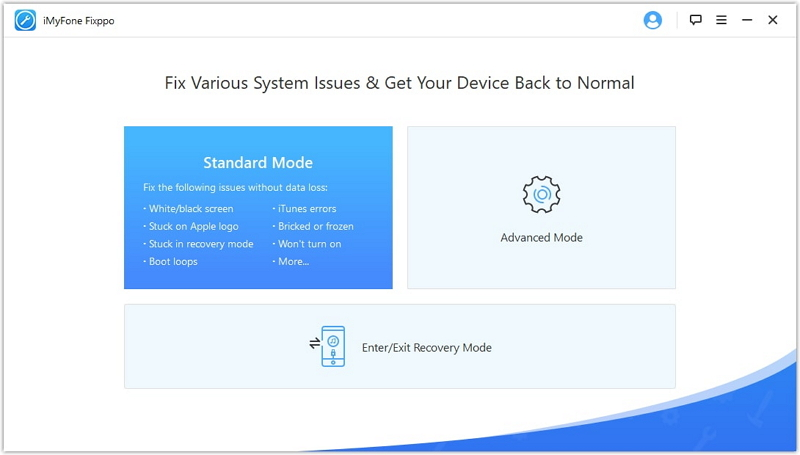 interface of iMyFone iOS system recovery