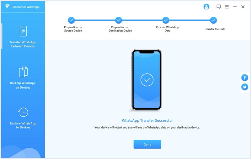 transfer whatsapp from android to iphone finished
