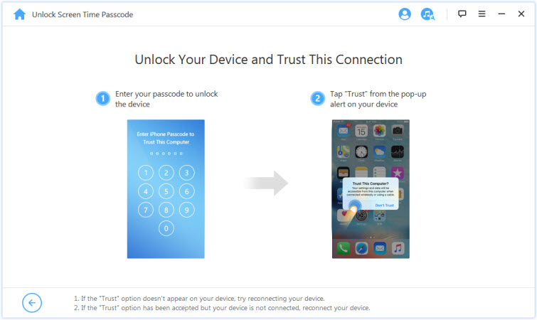 Unlock device and trust the computer