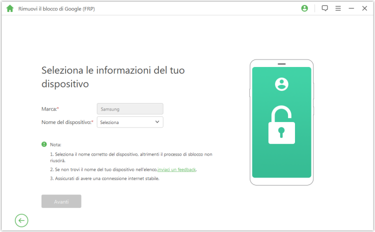 select your device name to unlock google frp lock